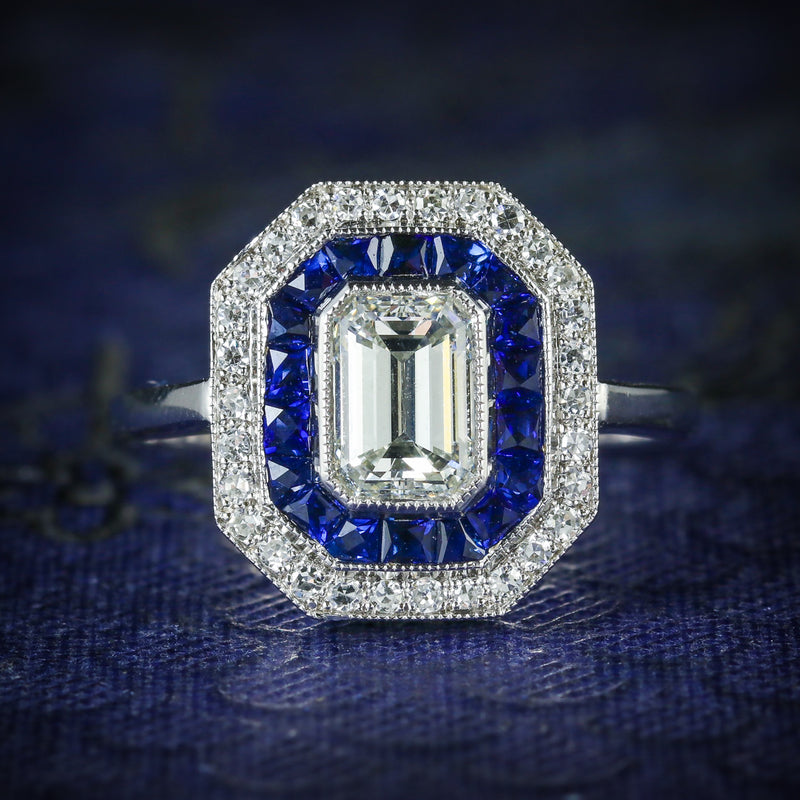 SAPPHIRE EMERALD CUT DIAMOND RING VS1 DIAMONDS FRENCH CUT SAPPHIRES 18CT GOLD COVER