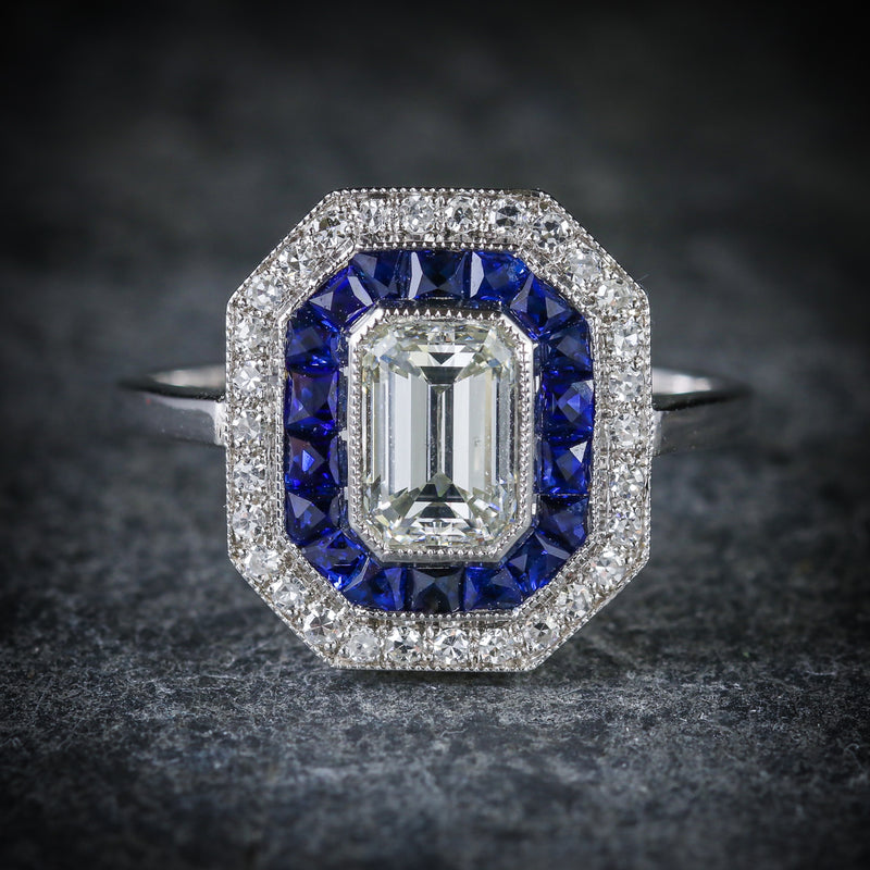 SAPPHIRE EMERALD CUT DIAMOND RING VS1 DIAMONDS FRENCH CUT SAPPHIRES 18CT GOLD FRONT