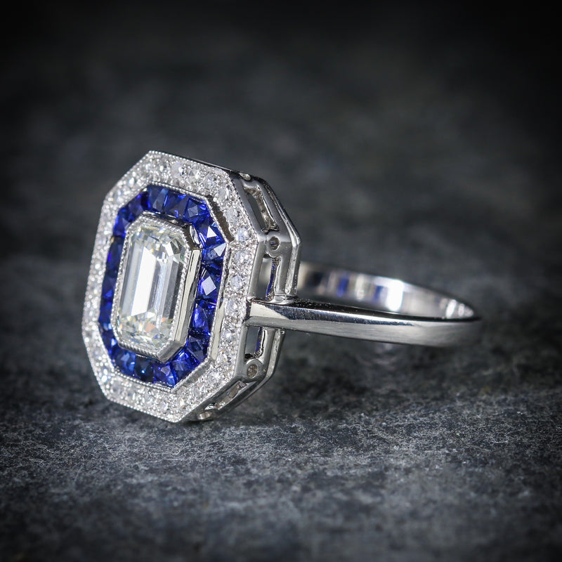 SAPPHIRE EMERALD CUT DIAMOND RING VS1 DIAMONDS FRENCH CUT SAPPHIRES 18CT GOLD SIDE