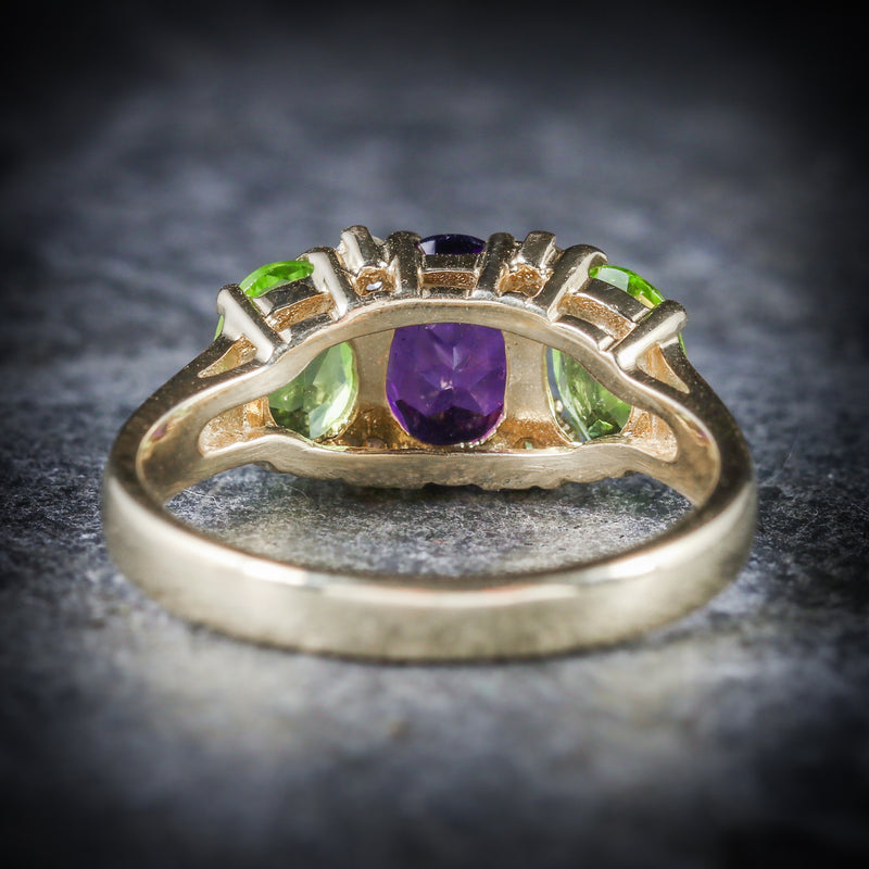 SUFFRAGETTE AMETHYST PERIDOT DIAMOND 9CT GOLD RING BACK