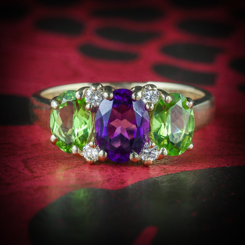 SUFFRAGETTE AMETHYST PERIDOT DIAMOND 9CT GOLD RING COVER