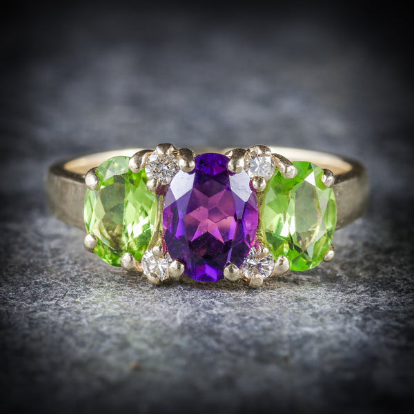 SUFFRAGETTE AMETHYST PERIDOT DIAMOND 9CT GOLD RING FRONT