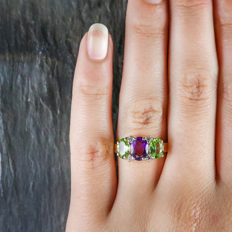 SUFFRAGETTE AMETHYST PERIDOT DIAMOND 9CT GOLD RING HAND