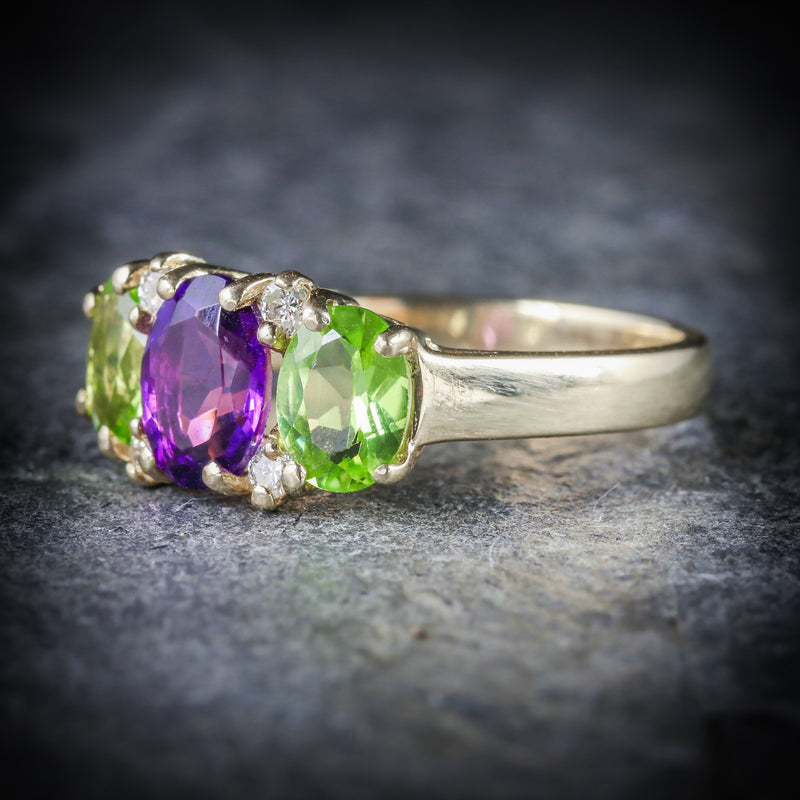 SUFFRAGETTE AMETHYST PERIDOT DIAMOND 9CT GOLD RING SIDE
