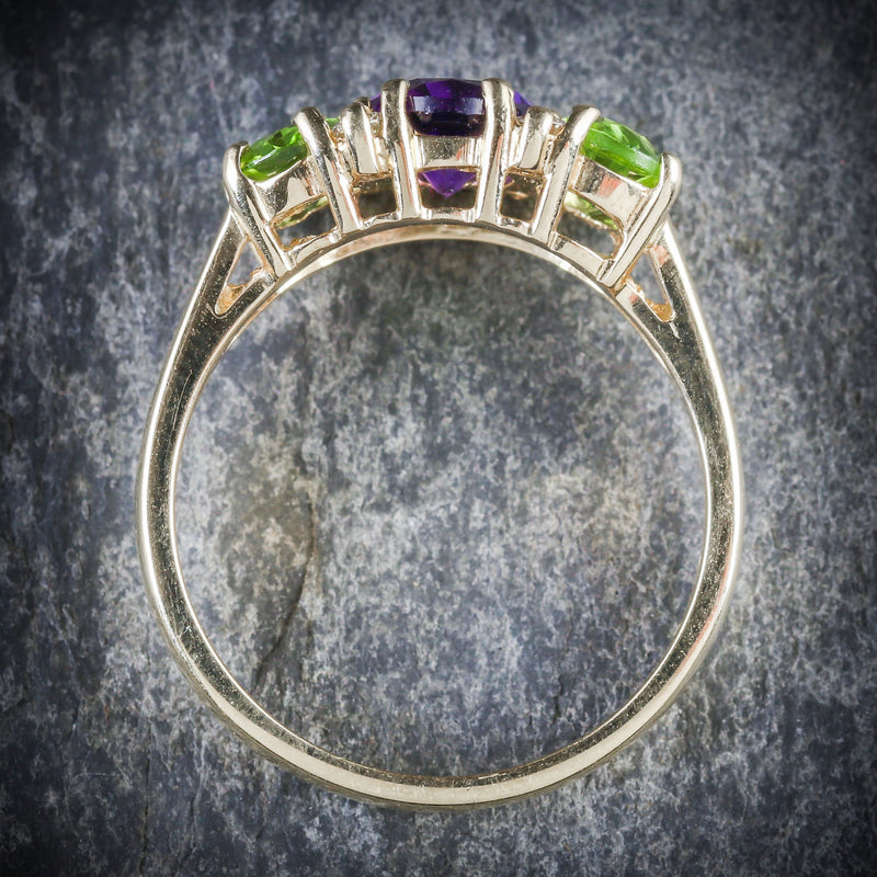 SUFFRAGETTE AMETHYST PERIDOT DIAMOND 9CT GOLD RING TOP