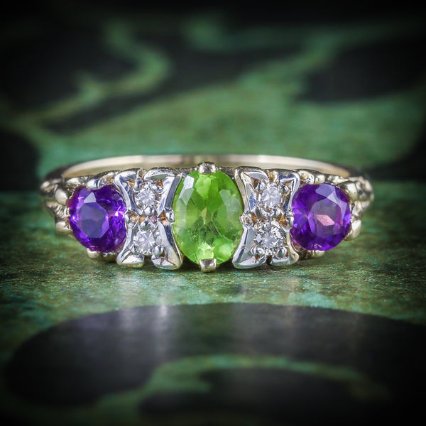 SUFFRAGETTE GOLD AMETHYST PERIDOT DIAMOND RING COVER