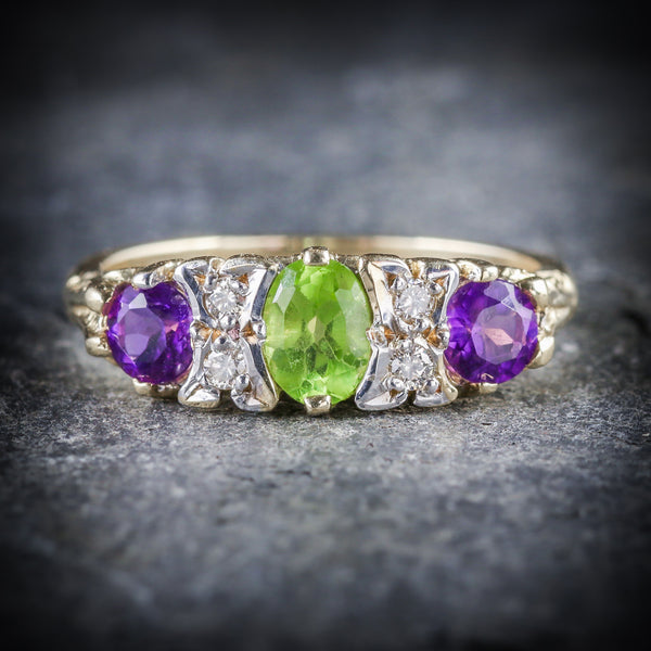 SUFFRAGETTE GOLD AMETHYST PERIDOT DIAMOND RING FRONT