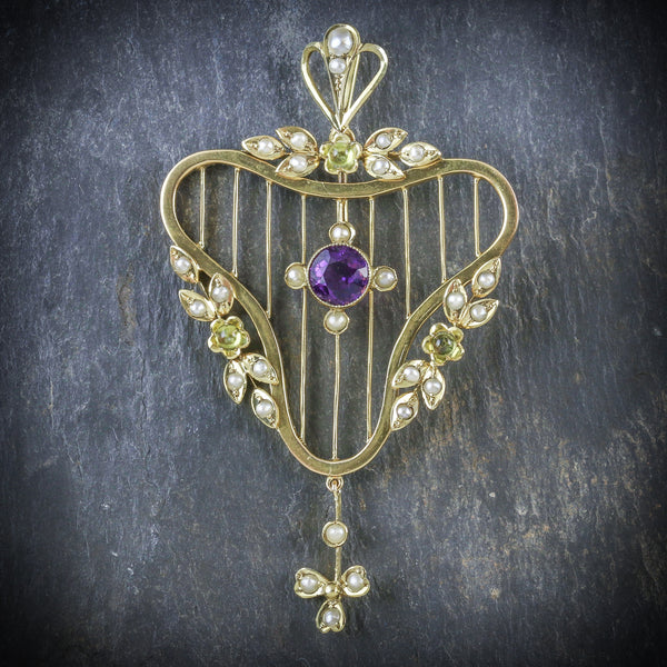 SUFFRAGETTE PENDANT AMETHYST PERIODT PEARL 9CT GOLD  FRONT