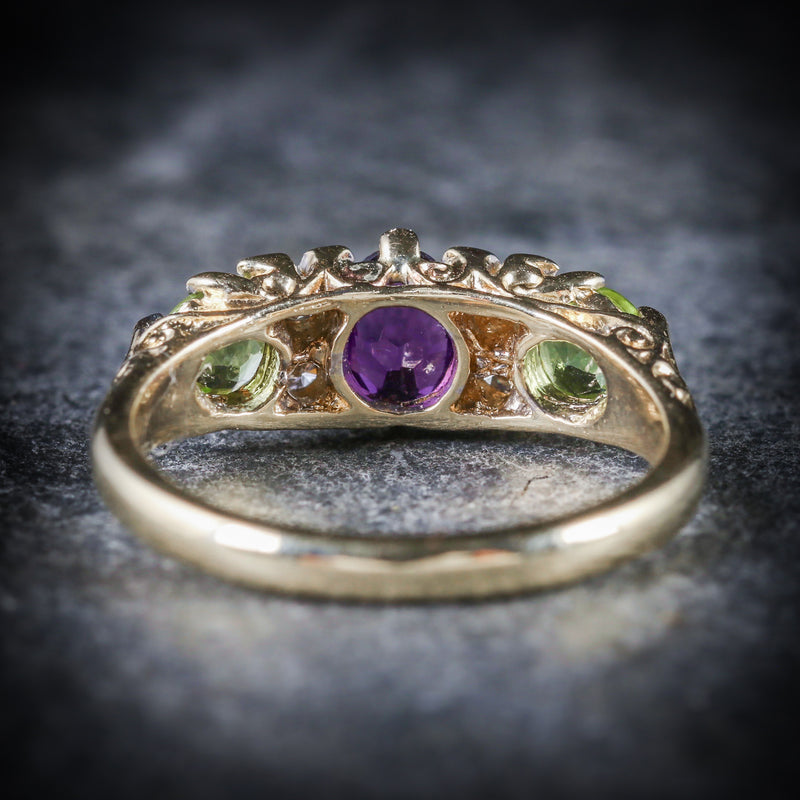 SUFFRAGETTE RING AMETHYST PERIDOT DIAMOND GOLD BACK