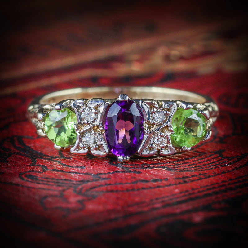 SUFFRAGETTE RING AMETHYST PERIDOT DIAMOND GOLD COVER