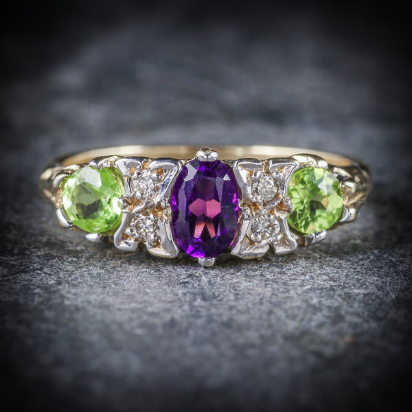 SUFFRAGETTE RING AMETHYST PERIDOT DIAMOND GOLD FRONT