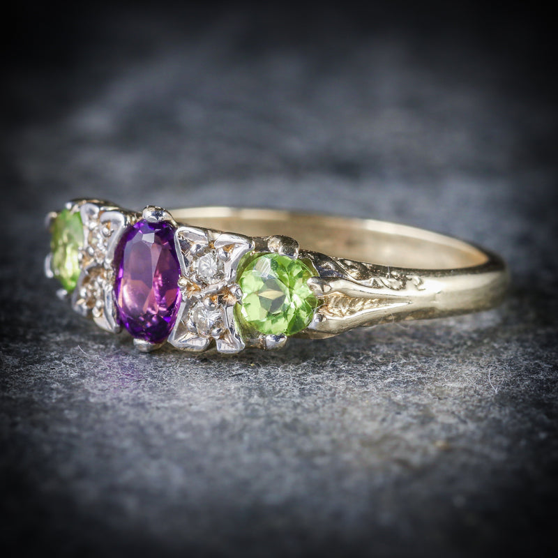 SUFFRAGETTE RING AMETHYST PERIDOT DIAMOND GOLD SIDE