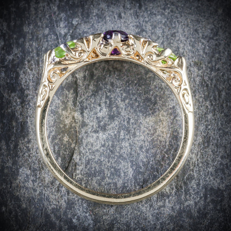SUFFRAGETTE RING AMETHYST PERIDOT DIAMOND GOLD TOP