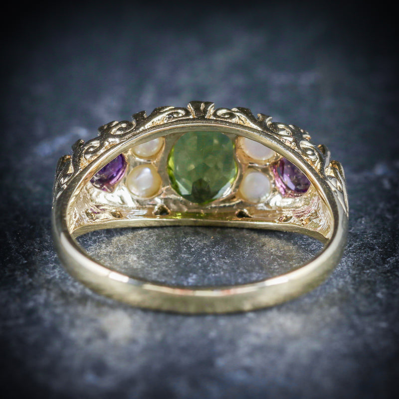 SUFFRAGETTE RING AMETHYST PERIDOT PEARL 9CT GOLD RING BACK
