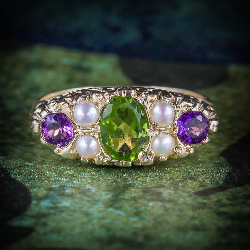 SUFFRAGETTE RING AMETHYST PERIDOT PEARL 9CT GOLD RING COVER