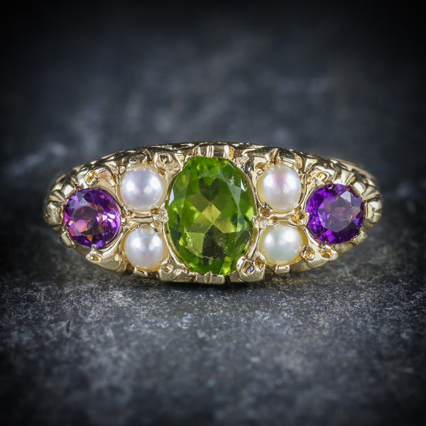 SUFFRAGETTE RING AMETHYST PERIDOT PEARL 9CT GOLD RING FRONT
