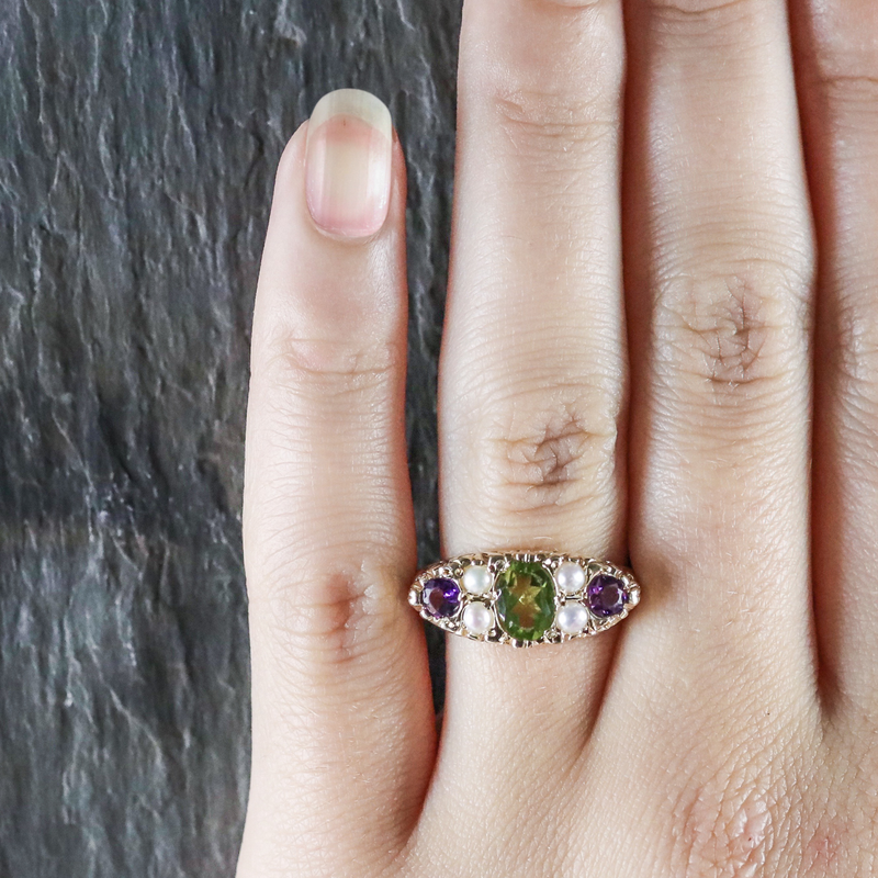 SUFFRAGETTE RING AMETHYST PERIDOT PEARL 9CT GOLD RING HAND
