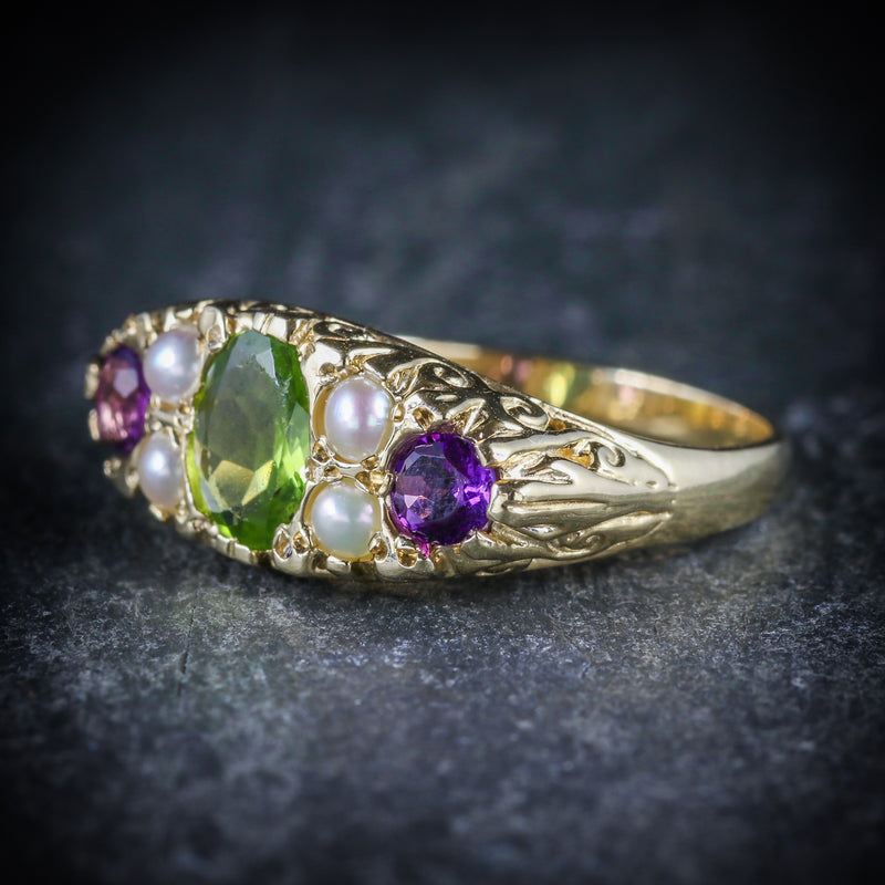 SUFFRAGETTE RING AMETHYST PERIDOT PEARL 9CT GOLD RING SIDE