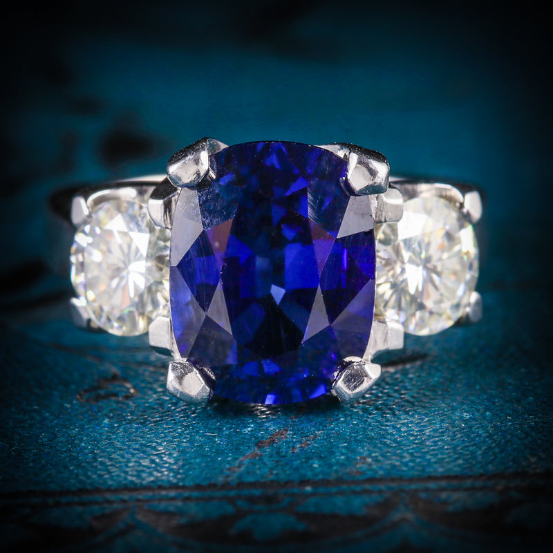 Sapphire Moissanite Trilogy Ring 14k Gold Fabulous Engagement Ring COVER