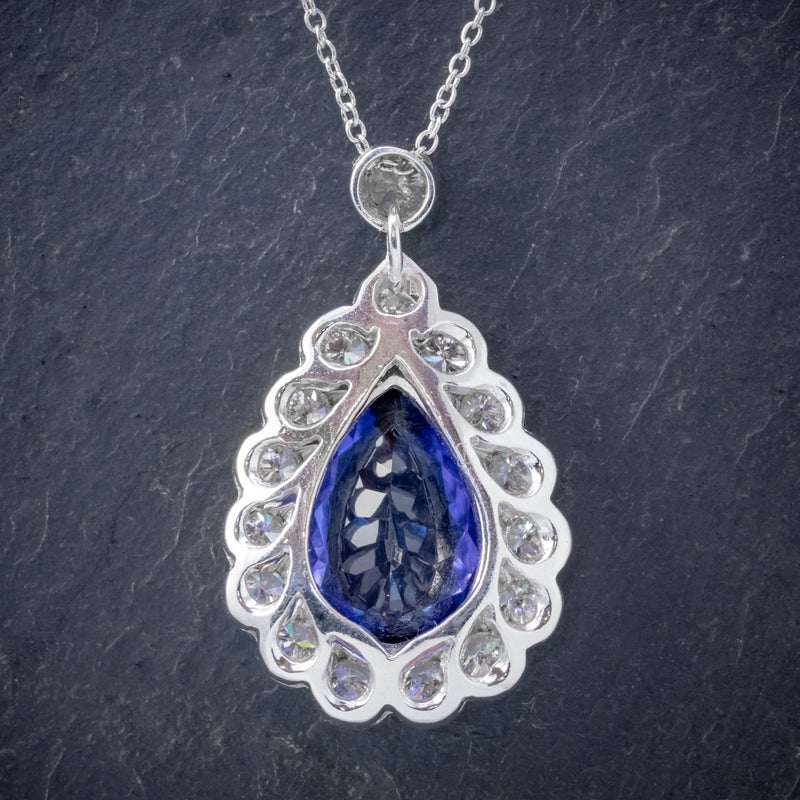 TANZANITE DIAMOND PENDANT NECKLACE 4CT TANZANITE 1.80CT DIAMONDS 18CT WHITE GOLD BACK