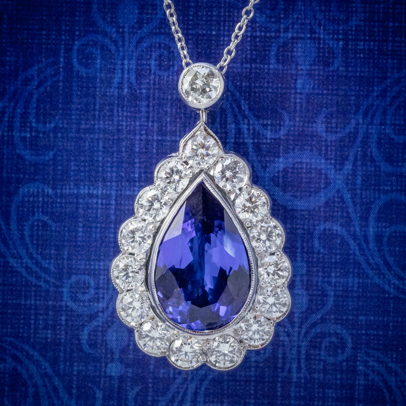 TANZANITE DIAMOND PENDANT NECKLACE 4CT TANZANITE 1.80CT DIAMONDS 18CT WHITE GOLD COVER