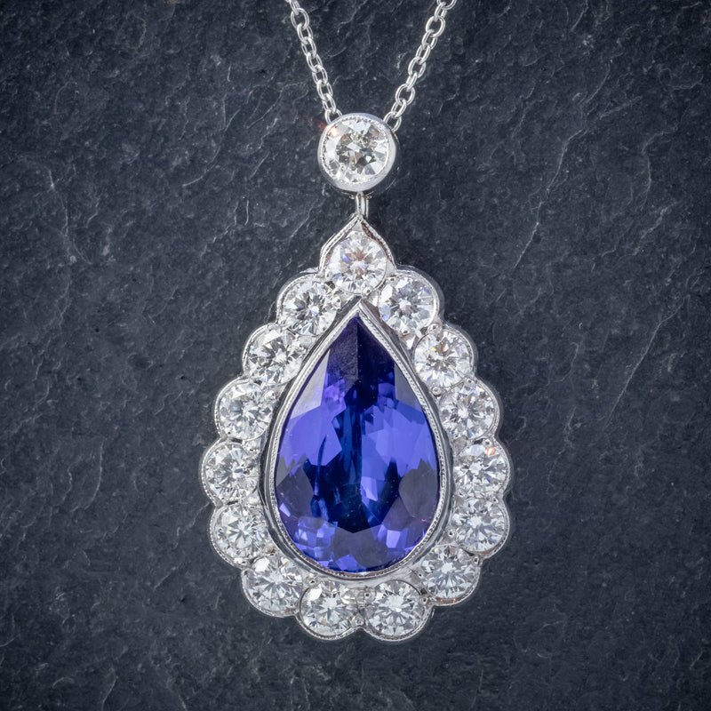 TANZANITE DIAMOND PENDANT NECKLACE 4CT TANZANITE 1.80CT DIAMONDS 18CT WHITE GOLD FRONT