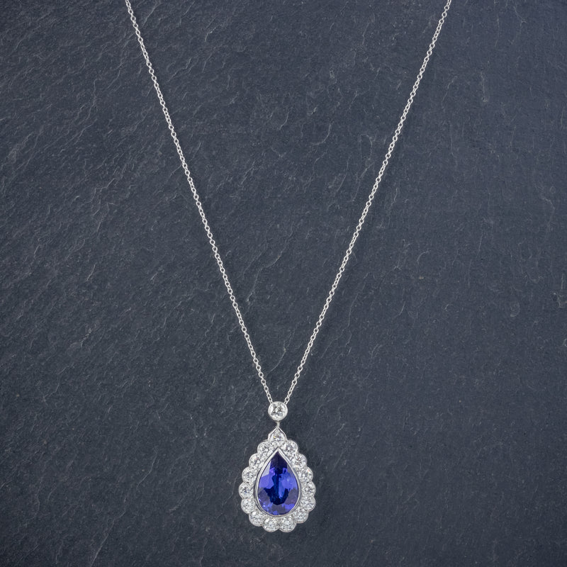 TANZANITE DIAMOND PENDANT NECKLACE 4CT TANZANITE 1.80CT DIAMONDS 18CT WHITE GOLD NECK