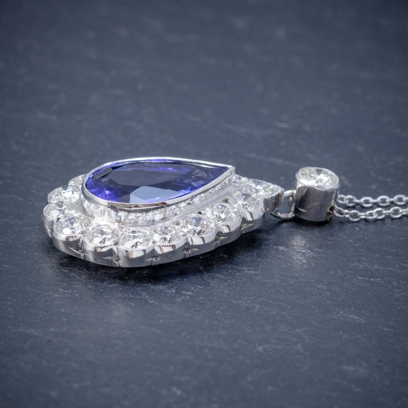 TANZANITE DIAMOND PENDANT NECKLACE 4CT TANZANITE 1.80CT DIAMONDS 18CT WHITE GOLD SIDE
