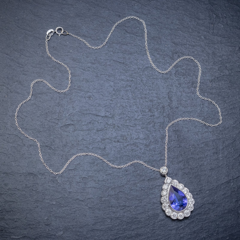 TANZANITE DIAMOND PENDANT NECKLACE 4CT TANZANITE 1.80CT DIAMONDS 18CT WHITE GOLD TOP