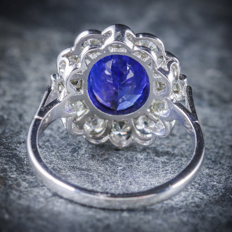 TANZANITE DIAMOND CLUSTER RING 18CT WHITE GOLD 2.10CT TANZANITE 1.20CT DIAMOND BACK