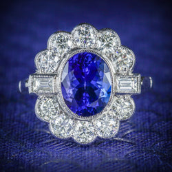 TANZANITE DIAMOND CLUSTER RING 18CT WHITE GOLD 2.10CT TANZANITE 1.20CT DIAMOND COVER