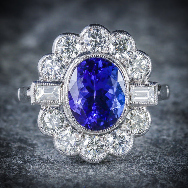 TANZANITE DIAMOND CLUSTER RING 18CT WHITE GOLD 2.10CT TANZANITE 1.20CT DIAMOND FRONT