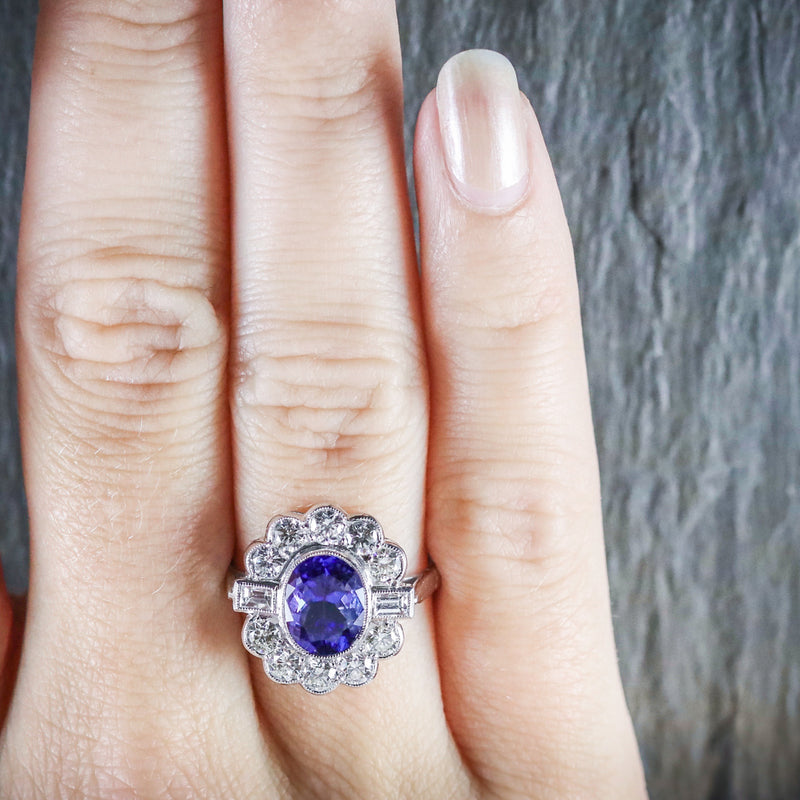TANZANITE DIAMOND CLUSTER RING 18CT WHITE GOLD 2.10CT TANZANITE 1.20CT DIAMOND HAND