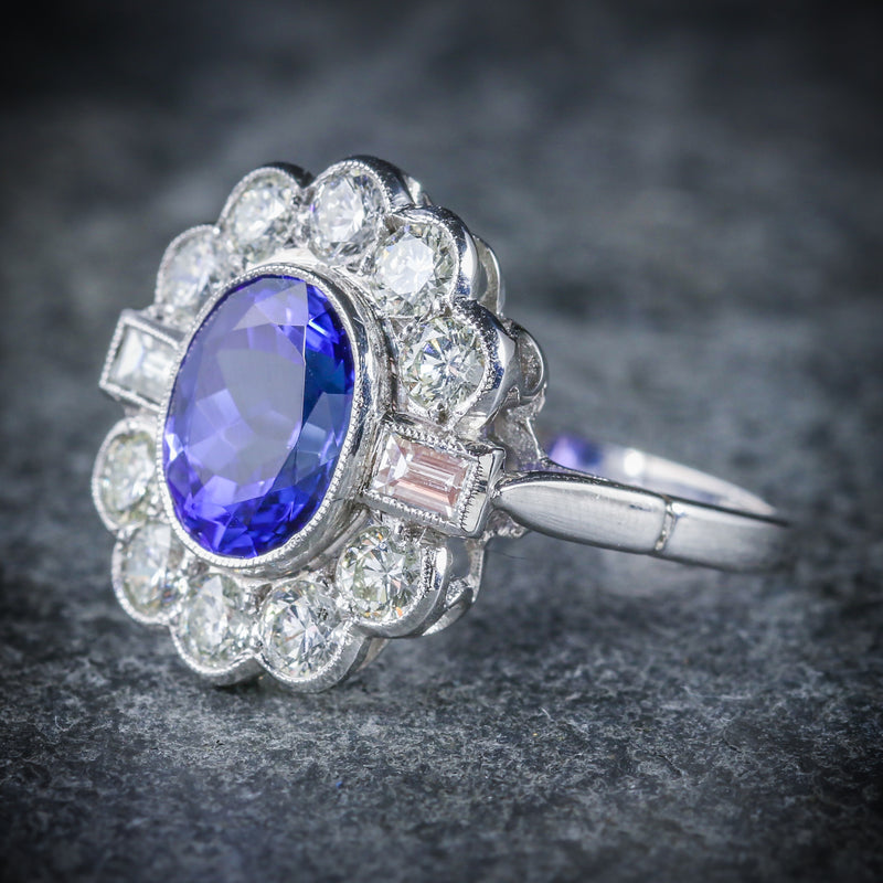 TANZANITE DIAMOND CLUSTER RING 18CT WHITE GOLD 2.10CT TANZANITE 1.20CT DIAMOND SIDE