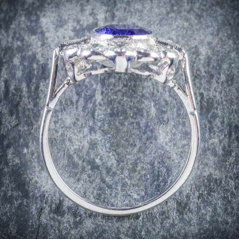 TANZANITE DIAMOND CLUSTER RING 18CT WHITE GOLD 2.10CT TANZANITE 1.20CT DIAMOND TOP