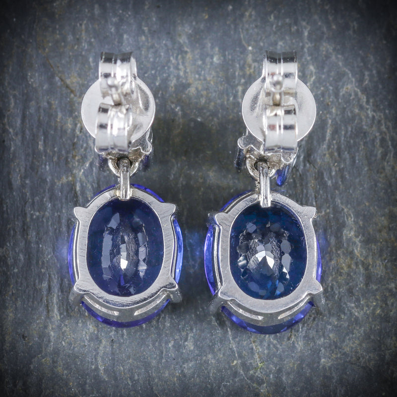 TANZANITE DIAMOND EARRINGS 18CT WHITE GOLD BACK