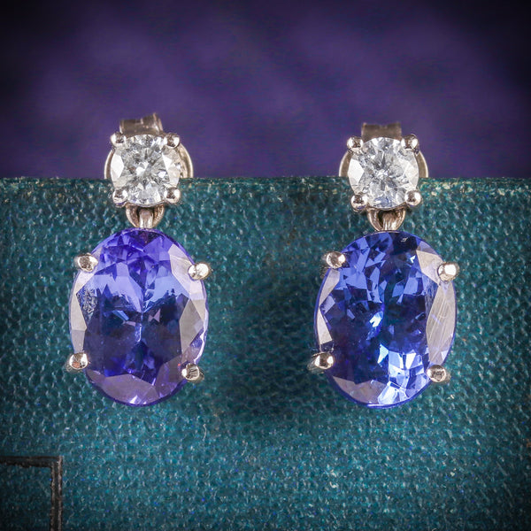 TANZANITE DIAMOND EARRINGS 18CT WHITE GOLD cover