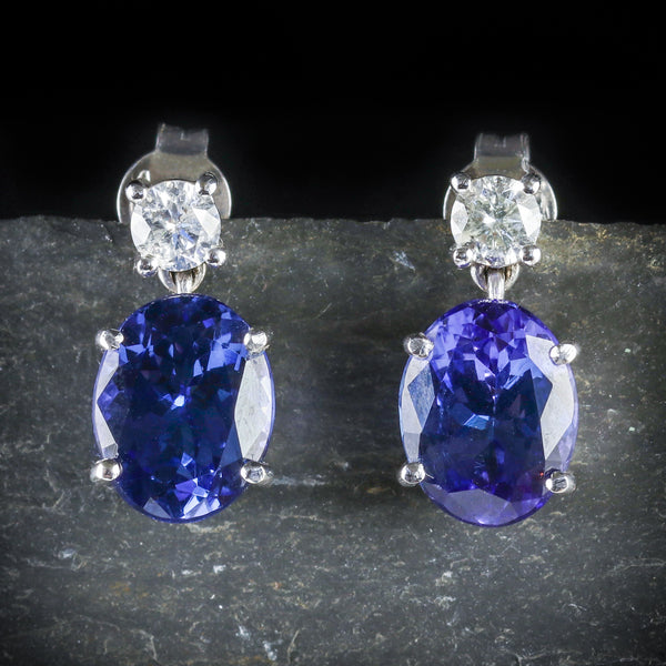 FTANZANITE DIAMOND EARRINGS 18CT WHITE GOLD FRONT