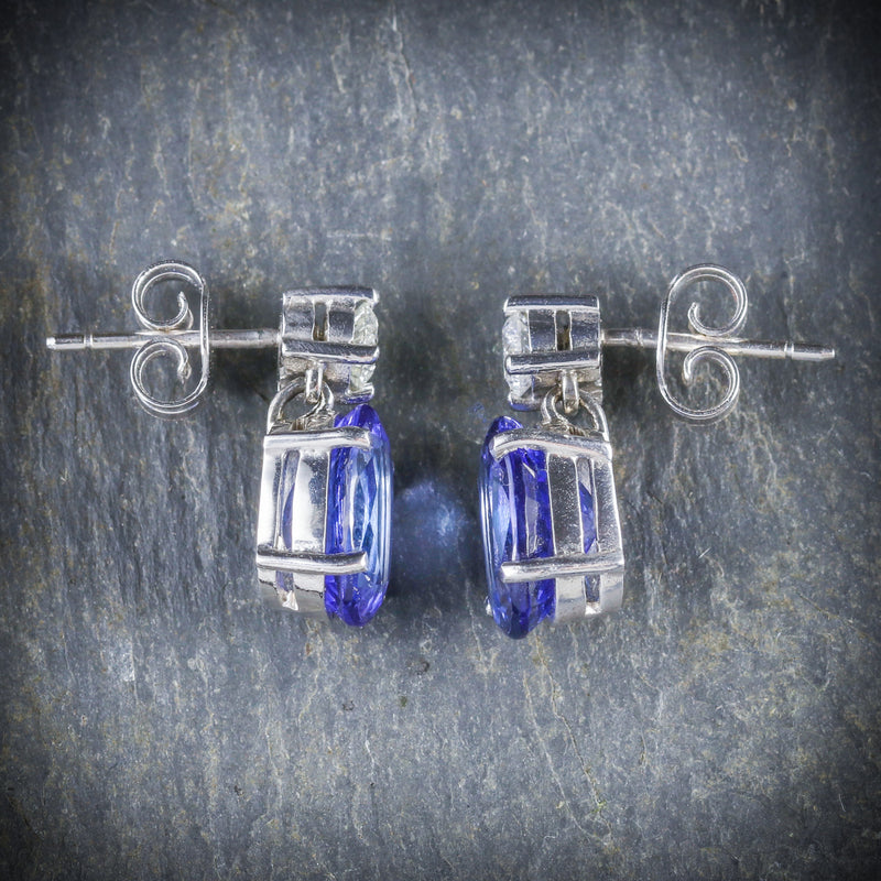 TANZANITE DIAMOND EARRINGS 18CT WHITE GOLD SIDE