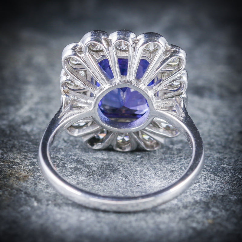 TANZANITE DIAMOND RING 18CT WHITE GOLD 4CT TANZANITE BACK