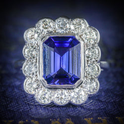 TANZANITE DIAMOND RING 18CT WHITE GOLD 4CT TANZANITE COVER