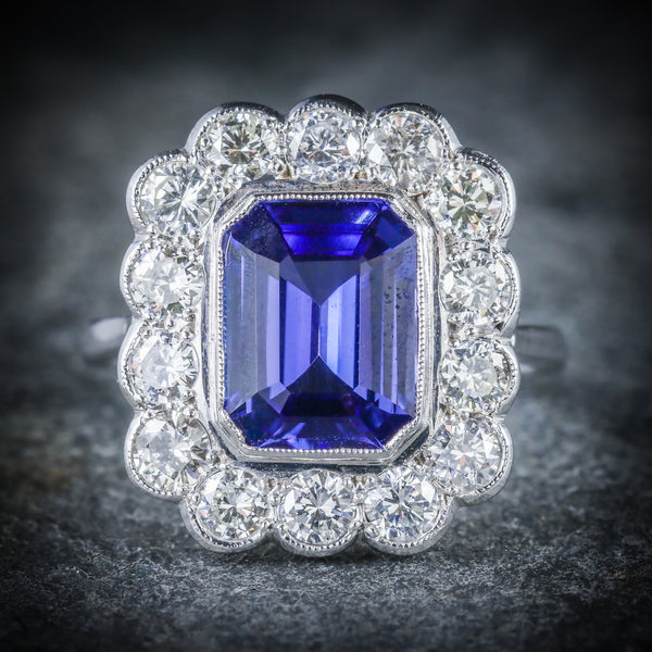 TANZANITE DIAMOND RING 18CT WHITE GOLD 4CT TANZANITE FRONT