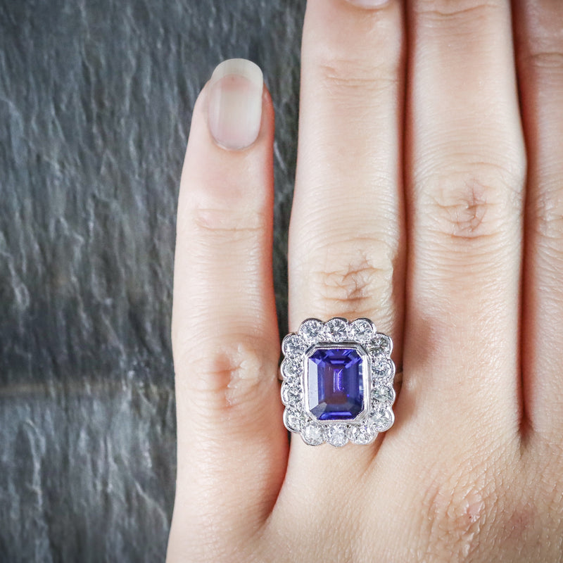 TANZANITE DIAMOND RING 18CT WHITE GOLD 4CT TANZANITE HAND
