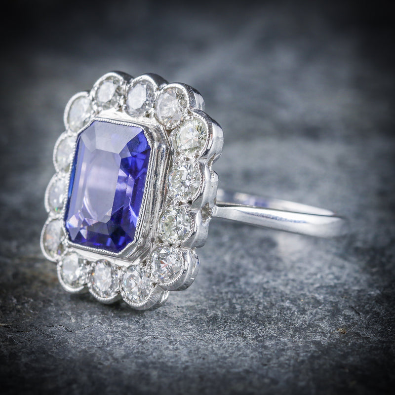 TANZANITE DIAMOND RING 18CT WHITE GOLD 4CT TANZANITE SIDE