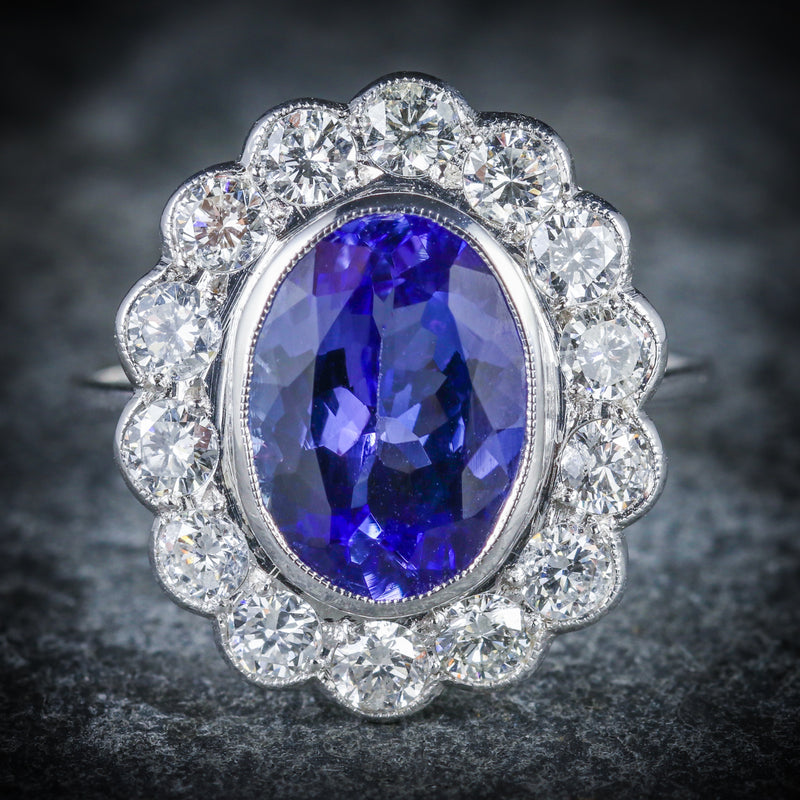 TANZANITE DIAMOND RING 3.80CT TANZANITE 1.50CT DIAMOND FRONT
