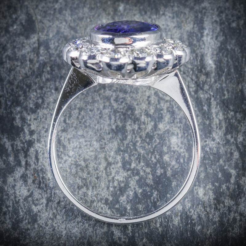 TANZANITE DIAMOND RING 3.80CT TANZANITE 1.50CT DIAMOND TOP