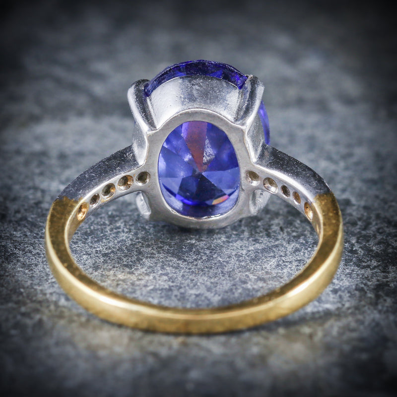 TANZANITE PASTE LARGE SOLITAIRE RING 18CT GOLD SILVER BACK