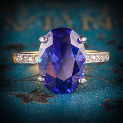 COTANZANITE PASTE LARGE SOLITAIRE RING 18CT GOLD SILVER COVER