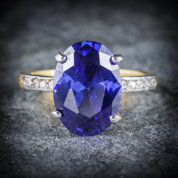 TANZANITE PASTE LARGE SOLITAIRE RING 18CT GOLD SILVER FRONT