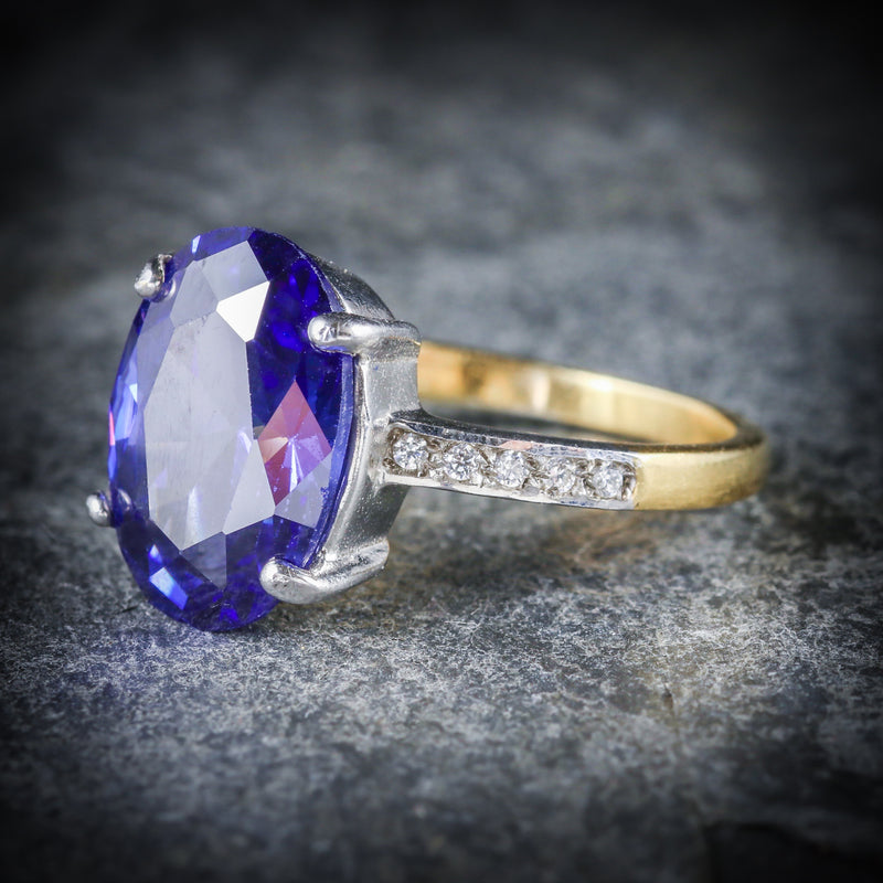 TANZANITE PASTE LARGE SOLITAIRE RING 18CT GOLD SILVER SIDE